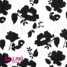 Tela Doodle flores blanco