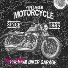 Tela motos vintage blanco y...