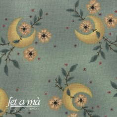 Tela trasera lunas y flores...