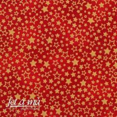 Tela Navidad - Estrellas rojo